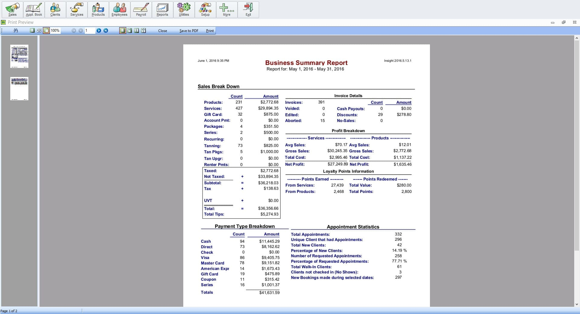 Business Summary Report