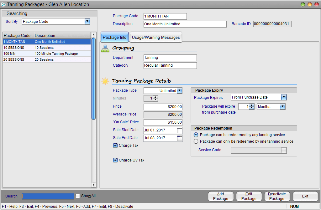 Insight Software Management Tanning Packages Screen Shot
