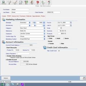 client management salon spa client screen details