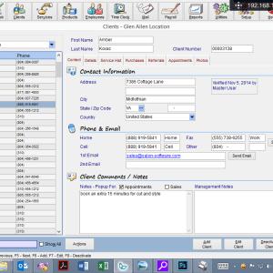 client management screen tablet