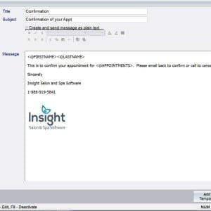 Insight Software Confirmation Appointment Email