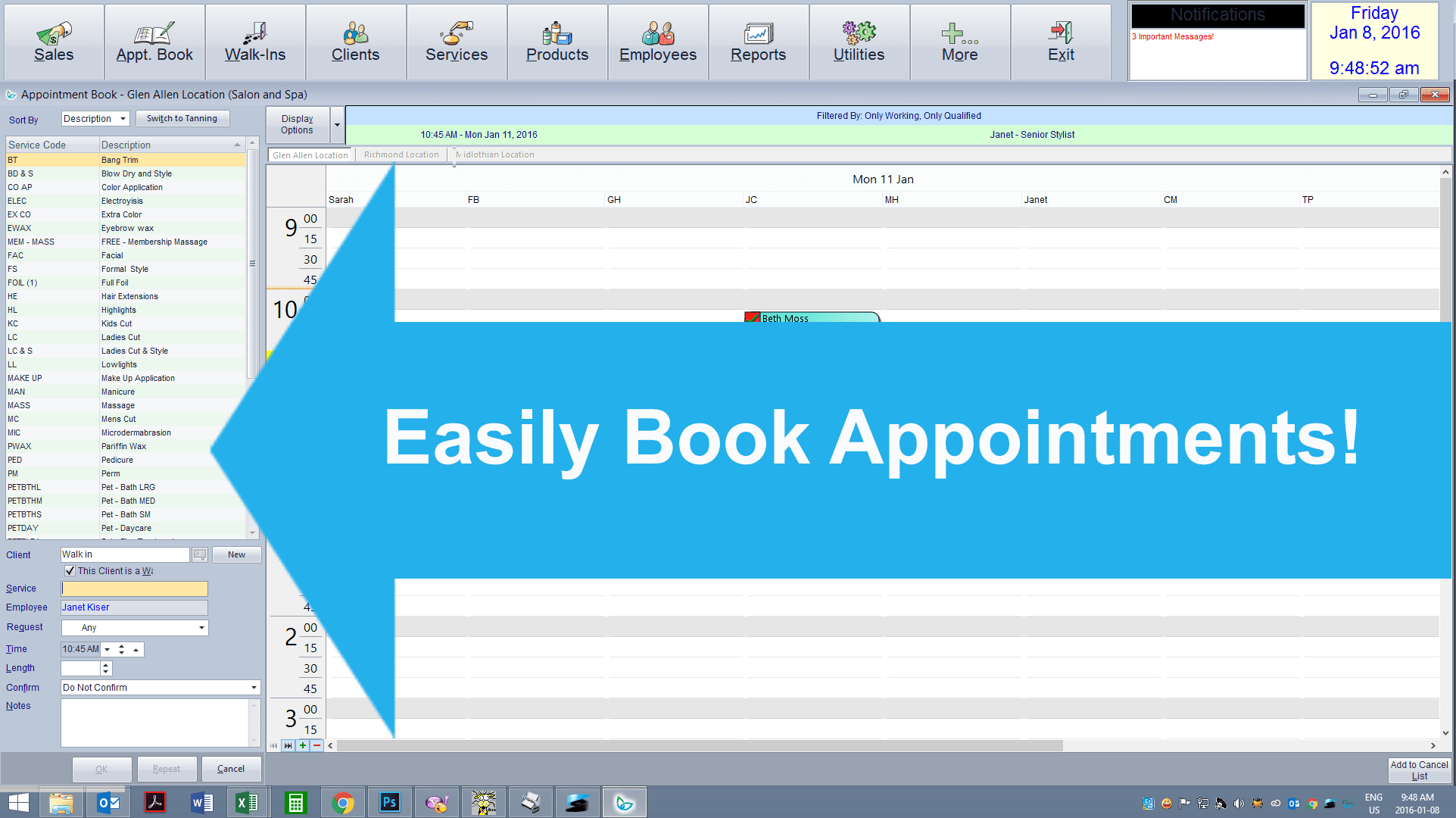 jxtc appointment book component