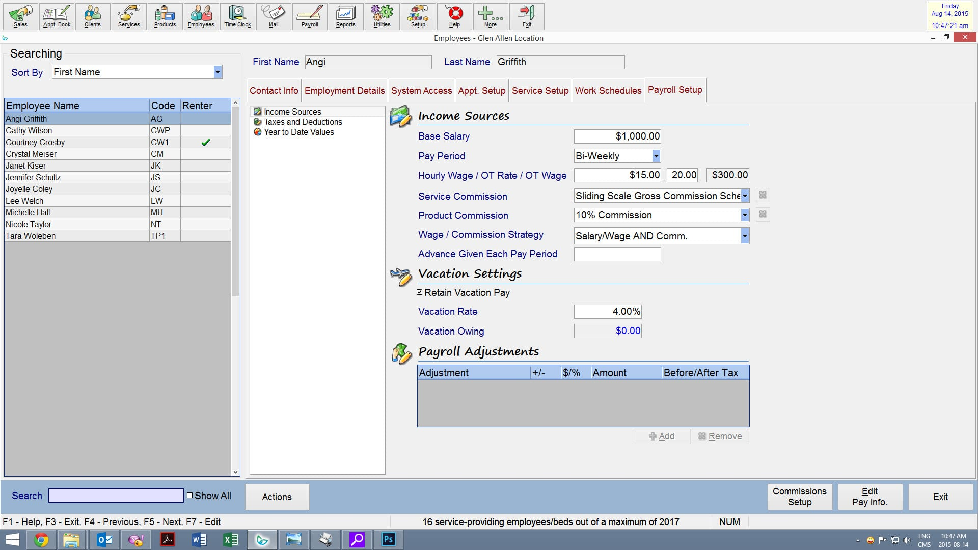 employee - payroll set up screen shot insight software