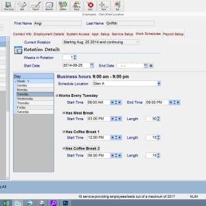 employee - work schedule screen shot at salon spa