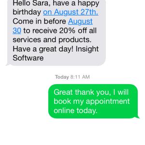 iphone birthday promo with response screen shot