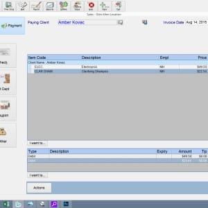 sales payment screen salon management pos