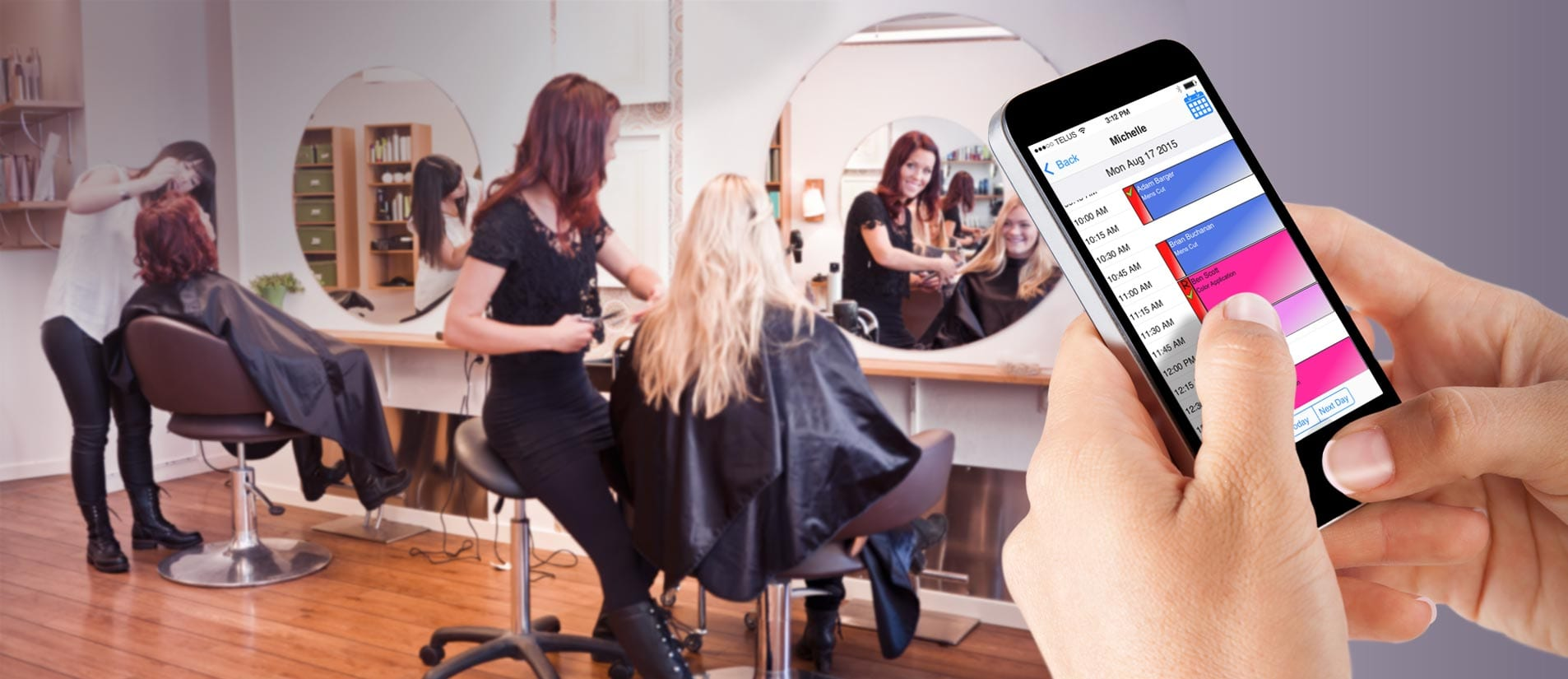 hair salon appointment app mobile device online booking