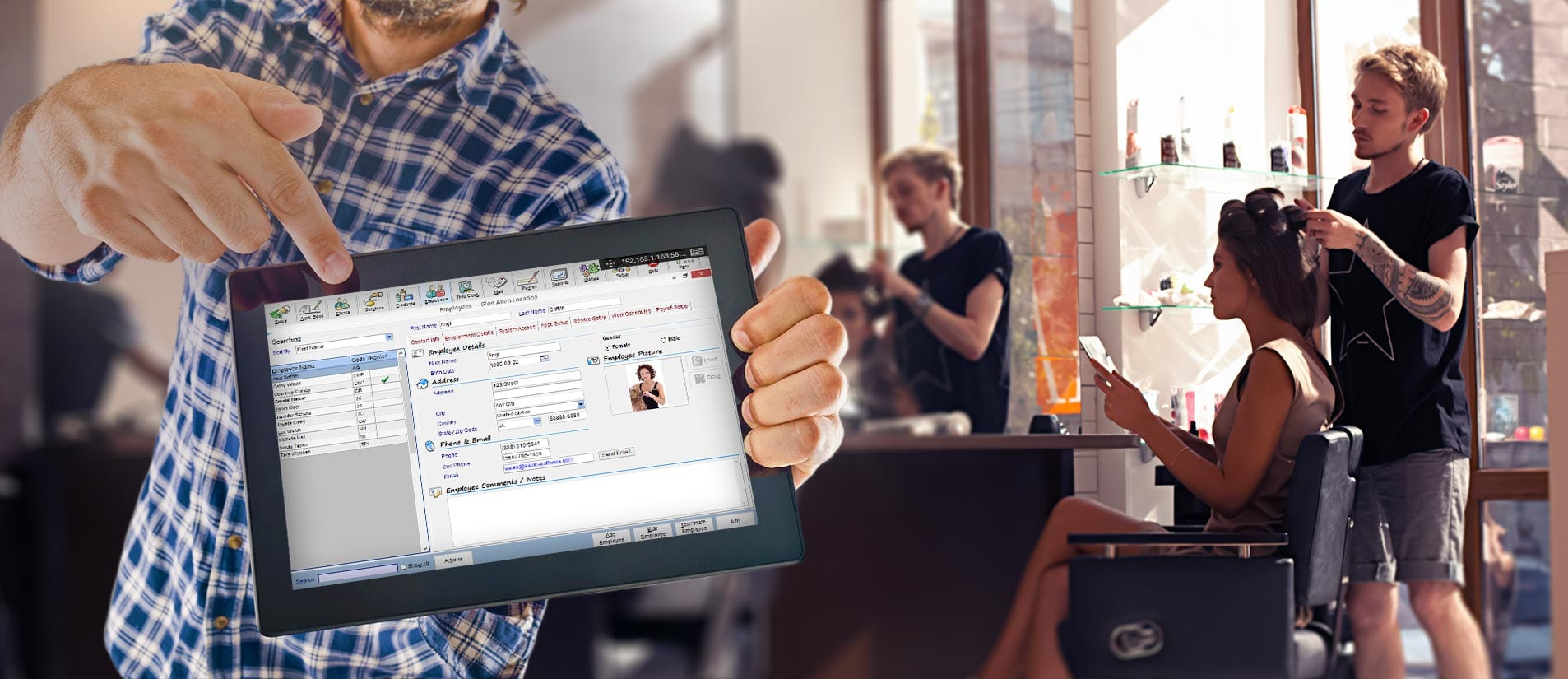 beauty salon tablet with employee management screen